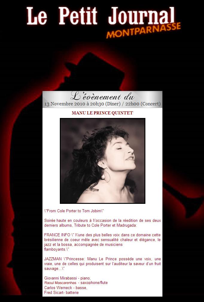 Manu Le Prince au Petit Journal Montparnasse le 13 Novembre